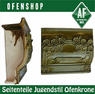neue seitenteile f r ofenkrone jugendstil kachelofen gr n antik ofenkachel ofenshop. Black Bedroom Furniture Sets. Home Design Ideas