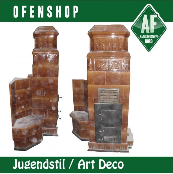 kachelofen braun jugendstil art deco sitzbank ofenshop. Black Bedroom Furniture Sets. Home Design Ideas