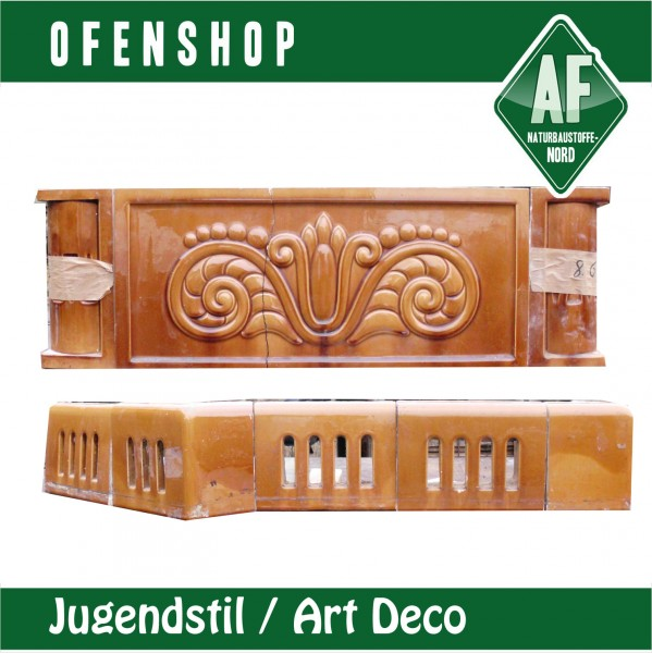 kachelofen braun jugendstil art deco sitzbank ofenshop. Black Bedroom Furniture Sets. Home Design Ideas